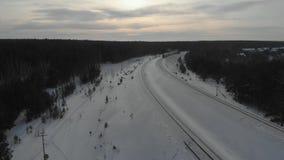 Поезд в лесе зимы сток-видео