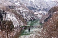Поезд в снеге ландшафта зимы стоковое фото rf