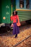 поезд девушки Стоковое Изображение RF