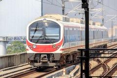 Поезд железнодорожного сообщения авиапорта на станции Бангкоке Ladkrabang, Таиланде Стоковая Фотография