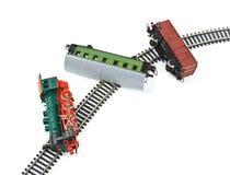 поезд игрушки аварии Стоковая Фотография