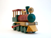 поезд игрушки двигателя деревянный Стоковая Фотография