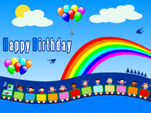 поезд мальчика дня рождения счастливый иллюстрация штока