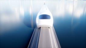 Поезд монорельса Speedly футуристический Концепция будущего Люди и роботы Энергия воды и ветра Реалистическая анимация 4K иллюстрация вектора