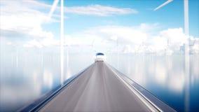 Поезд монорельса Speedly футуристический Концепция будущего Люди и роботы Энергия воды и ветра Реалистическая анимация 4K иллюстрация штока