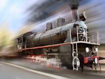 поезд пара скорости движения двигателя нерезкости локомотивный Стоковое фото RF
