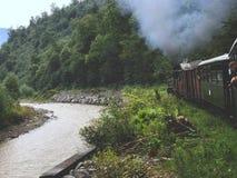 Поезд пара Mocanita идя в горы Стоковая Фотография