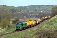 Поезд перевозки тепловозный Стоковые Изображения RF