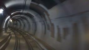 Поезд скорости тоннеля метро видеоматериал