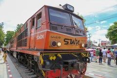 Поезд Таиланда, железнодорожный вокзал Kanchanaburi Стоковые Изображения