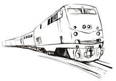 поезд типа эскиза быстро проходя иллюстрация вектора