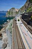 поезд terre станции manarola cinque стоковые изображения