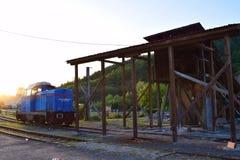 Поезд Transsylvania в заходе солнца стоковая фотография