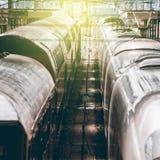 2 поезда на платформе в вокзале Стоковые Изображения