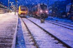 Поезда на станции в зиме Стоковые Фотографии RF