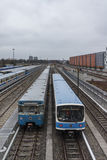 Поезда на станции метро Froettmaning в Мюнхене, 2015 Стоковые Фото