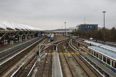 Поезда на станции метро Froettmaning в Мюнхене, 2015 Стоковые Изображения RF
