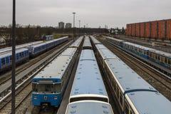 Поезда на станции метро Froettmaning в Мюнхене, 2015 Стоковые Изображения