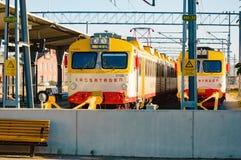 Поезда на станции Стоковое Изображение