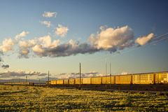 2 поезда проходя один другого на заход солнца Стоковые Фотографии RF