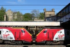Поезда Voyager девственницы тепловозные, станция Ланкастера Стоковые Изображения RF