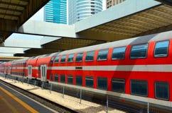 поезд Двух-палубы в телефоне Aiv, Израиле Стоковые Изображения