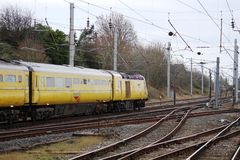 Поезд испытания HST рельса сети на WCML на Carnforth Стоковые Изображения RF