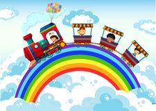 Поезд и радуга бесплатная иллюстрация