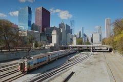 Поезд и станция Чикаго Стоковая Фотография