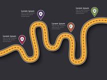 Поездка и путешествие направляют infographic шаблон с указателем штыря Стоковые Изображения