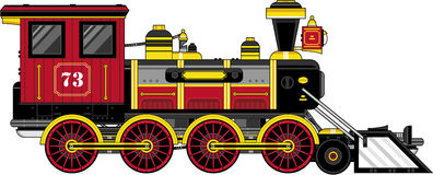 Поезд милого шаржа винтажный Стоковые Фотографии RF