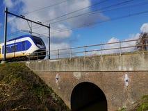 Поезд на мосте Стоковые Изображения