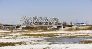 Поезд на мосте Стоковое фото RF