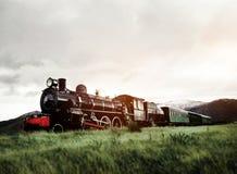 Поезд пара в концепции сцены открытой сельской местности естественной Стоковые Изображения