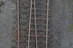 Поезд прокладывает рельсы транспорт концепции взгляд сверху Стоковая Фотография