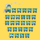 Поезд ребенк с алфавитом Иллюстрация штока