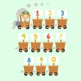 Поезд ребенк с номерами Иллюстрация вектора