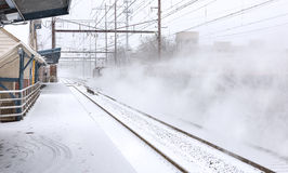 Поезд снега Metuchen Стоковые Фотографии RF