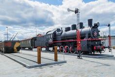 Поезд с локомотивом пара в музее Стоковая Фотография