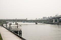 Поезд через реку Стоковые Фото