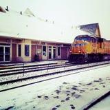 Поезд Snowy Стоковое Изображение