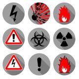 Пожарная безопасность, непредвиденные значки Взрыв, химические знаки радиоактивности Стоковое Фото