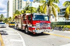 Пожарная команда на обязанности в южном пляже в Майами Стоковая Фотография