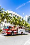 Пожарная команда на обязанности в южном пляже в Майами Стоковые Фото