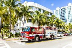 Пожарная команда на обязанности в южном пляже в Майами Стоковые Фотографии RF