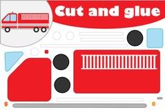 Пожарная машина в стиле мультфильма, игра образования для развития детей дошкольного возраста, ножницы пользы и клей для создания иллюстрация вектора
