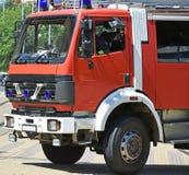 Пожарная машина на улице Стоковая Фотография