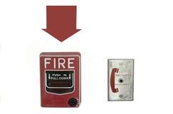 Пожарная сигнализация и телефонное гнездо на белом изоляте предпосылки Стоковое Фото