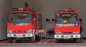 2 пожарной машины в гараже, Lijiang, Китае Стоковая Фотография