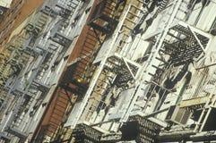 Пожарные лестницы, NY Стоковое фото RF